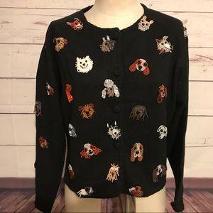 Vintage Michael Simon black dog sweater Large